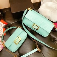 Fendi New Fashion More Letter Leather Shoulder Bag Shopping Women Leisure Mint Green