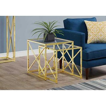 "38"" Gold Metal and Tempered Glass Two Pieces Nesting Table Set"