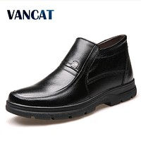 VANCAT 2017 New High Quality Winter Men Genuine Leather Boots Fashion Men Warm Boots Ankle Boots Men Outdoor Snow Boots