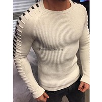 M-3XL Autumn and Winter Sweater Men's New Casual Pullover Mens Long-sleeved Round Neck Stitching Knit Solid Color Men Sweaters