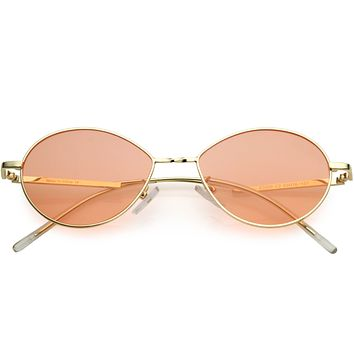 Retro Sophisticated Color Tinted Lenses Gold Metal Frame Oval Sunglasses C978