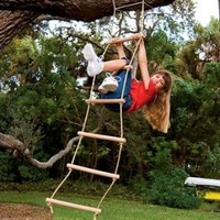 Sturdy Indoor/Outdoor Rope Ladder, Maple-wood - Natural Wood- 6'L