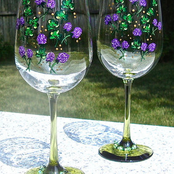 Painted Wine Glasses With Shamrocks And Crystal Wine Charms, Personalized Glasses