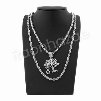 """MONEY TREE SILVER PENDANT W/ 24"""" ROPE /18"""" TENNIS CHAIN NECKLACE"""