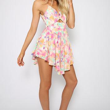 Garden Playsuit - Pastel Multicolor Print Playsuit