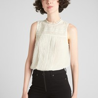 Sleeveless Victorian Lace Blouse in Swiss Dot | Gap