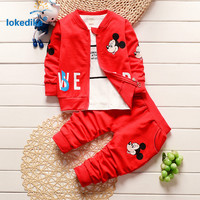 3pcs Children's Clothing Set Autumn Winter 2016 New Arrival Toddler Kids Boys Clothes Mickey Cartoon Cotton Clothing Set T2016