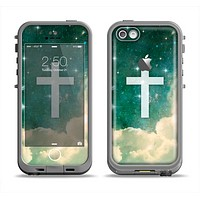 The Vector White Cross v2 over Cloudy Abstract Green Nebula Apple iPhone 5c LifeProof Fre Case Skin Set