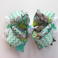 Aqua, Grey and Brown Floral with Chevron Boutique Bow