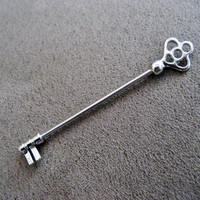 Industrial Barbell 14g Earring, Skeleton Key Industrial Barbell Silver Surgical Steel Finish 14 Gauge 2 Inch