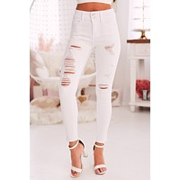 Getting Even Distressed Skinny Jeans (Optic White)