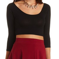 Three Quarter Sleeve Wrap Crop Top by Charlotte Russe