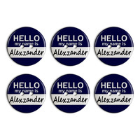 Alexzander Hello My Name Is Plastic Resin Button Set of 6