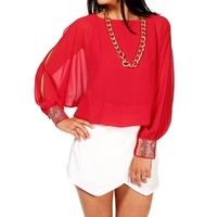 Red Studded Cuff Dolman Top