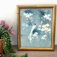 Asian Airbrush Watercolor Print, Bird of Paradise, Blue and White, Bamboo Style Frame, Chinoiserie Asian Wall Decor, Vintage Art Print