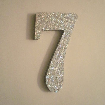 SILVER GLITTER NUMBERS - Sparkling Silver Glitter Wall Numbers - 5""
