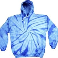 Tie Dye SPIDER BABY BLUE Retro Vintage Groovy Adult Hoody Hooded Sweatshirt Hoodie, Small