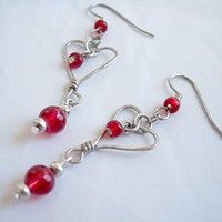 Heart Shaped Wire Earrings Red and Silver