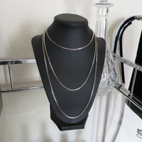 4 Way Long Layering Silver Box Chain Necklace