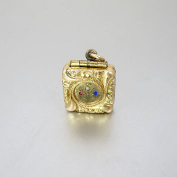 Antique Photo Locket. Victorian Square Double Sided Engraved Watch Fob Picture Locket. 14K Rolled Gold.
