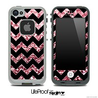 Black Chevron Pink Glimmer Skin for the iPhone 5 or 4/4s LifeProof Case