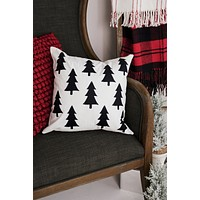 Pine Tree Throw Pillow Cover (Forest Black Tree)
