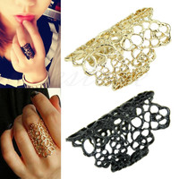 2016 European and American fashion jewelry rings hollow lace flower