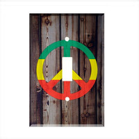 Light Switch Cover - Light Switch Plate Rasta Peace Sign
