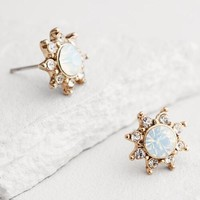 Gold White Opal Starburst Stud Earrings