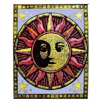 Aztec Sun Blacklight Reactive Cloth Wall Hanging
