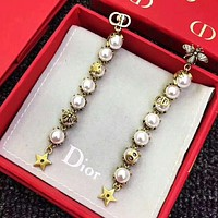 DIOR CD New fashion pearl bee star sterling silver long earring women