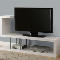 White Modern TV Stand Entertainment Center - Fits Up To 47-Inch TV
