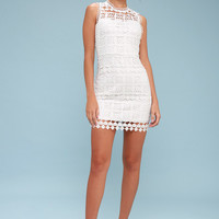 Pay Tribute White Crochet Lace Dress