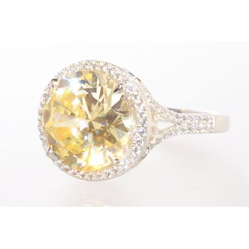 Sterling Silver Cushion Cut Canary Cubic Zirconia Ring 13mm Yellow CZ Stone