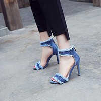 Women's High Heel Summer Denim Stiletto Heel Sandals