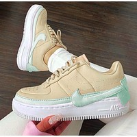 Nike Air Force 1 AF1 JESTER Transformed Crooked Sneakers Flat Shoes Beige+Mint green hook