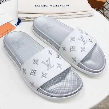 LV New fashion embroidery letter flip flop shoes slippers women