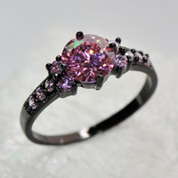 Size 6/7/8/9/10 Women Lady Finger Rings Fashion Jewelry 14KT Black Gold Filled Rings Pink Sapphire High Quality