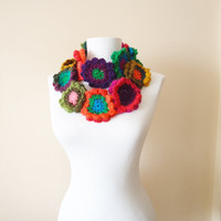 Colorful neckwarmer scarf floral scarf floral neckwarmer  crochet neckwarmer colorful scarves xmas gift, gift for her cozy scarves handmade