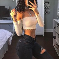 Hot Sale Summer Women's Fashion Bra Crop Top Long Sleeve Backless T-shirts [10544457287]