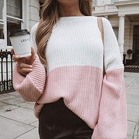 2020 autumn and winter new women's color matching fashion long-sleeved sweater