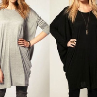 Fashion Womens Bat-wing sleeve Over Size Casual Long Shirts basic tops = 1945719556