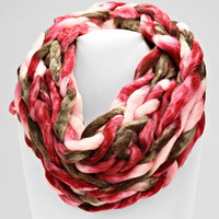 Ombre Knitted Hand Woven Infinity Scarf Burgundy Olive Mix