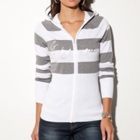 G by GUESS Payton Zip-Up Striped Hoodie: Amazon.com: Clothing