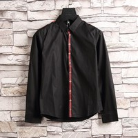 GUCCI Bee Embroidery Woman Men Lapel Shirt Top Tee-1