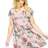 ASOS Dress In Wall Flower Print - Pink