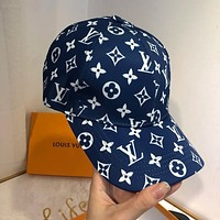Louis Vuitton new same style baseball cap sunscreen fashion men's and women's caps Internet sensation Hat Blue