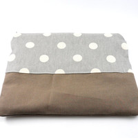Polka Dot Canvas Pencil Case or Makeup Bag, Gadget Case, Under 15, Medium, Zippered, Cosmetic Case, For Her