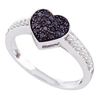10kt White Gold Women's Round Black Color Enhanced Diamond Heart Cluster Ring 1/3 Cttw - FREE Shipping (US/CAN)