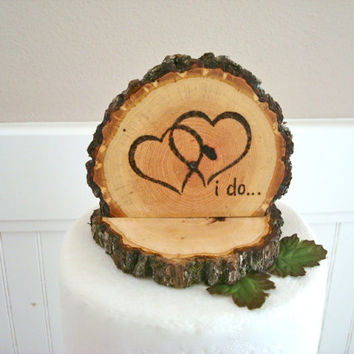 Rustic Wood Cake Topper Wedding Intertwined Hearts I Do Wooden